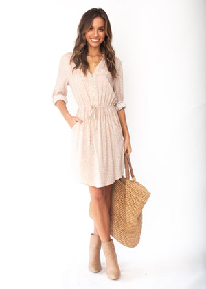 Primrose Tunic Dress - Nude Polka
