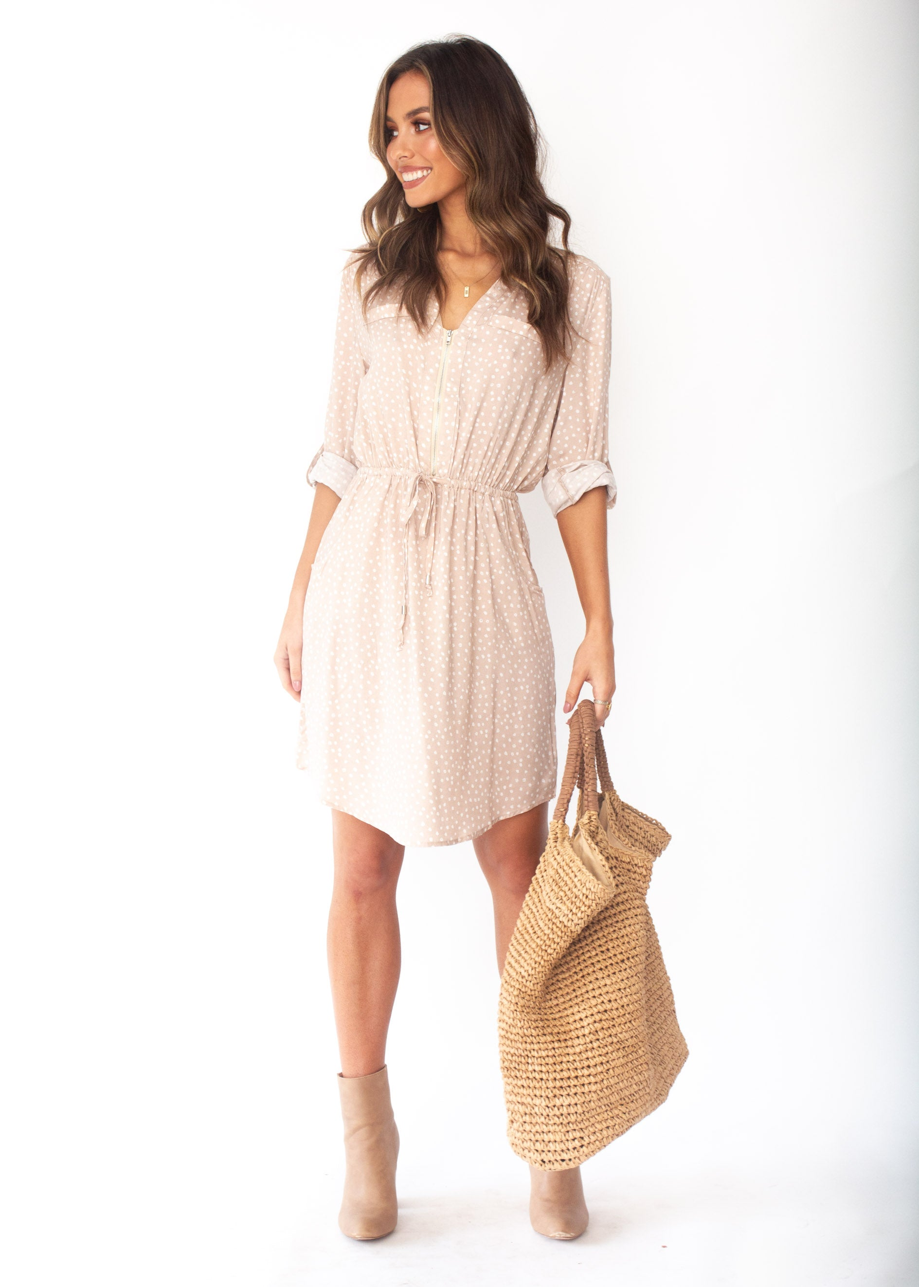 Women's Primrose Zip Tunic Dress - Nude Polka Print