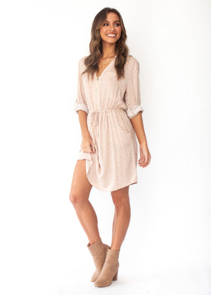 Primrose Zip Tunic Dress - Nude Polka Print