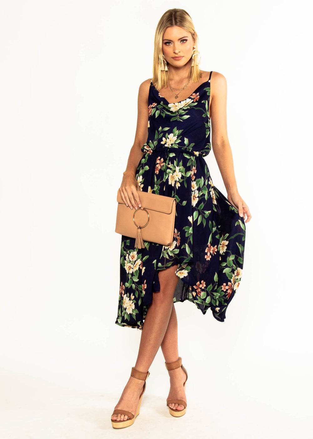 In A Million Midi Dress - Navy Floral