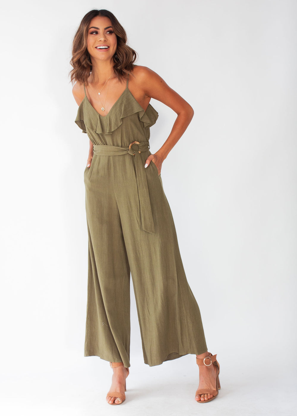 Unforgettable Wide Leg Pantsuit - Khaki
