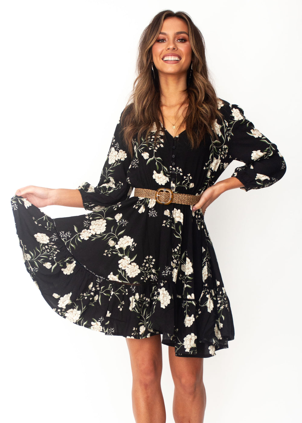 Women's Cianna Swing Dress - Alliah - Jaase - Black Floral