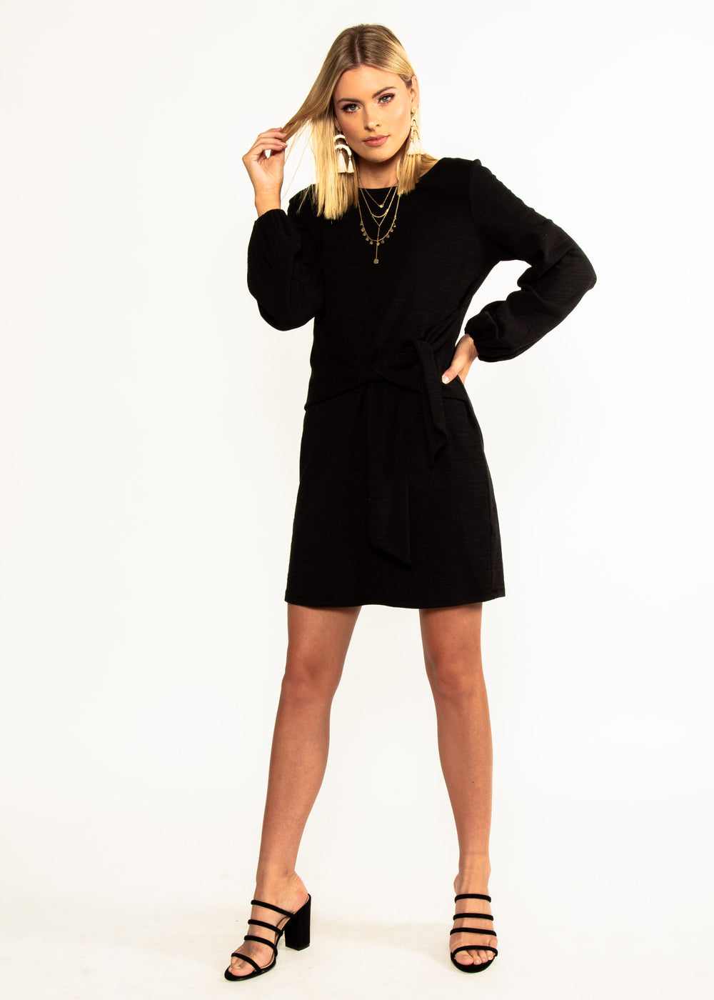 Jessa Tie Knit Dress - Black