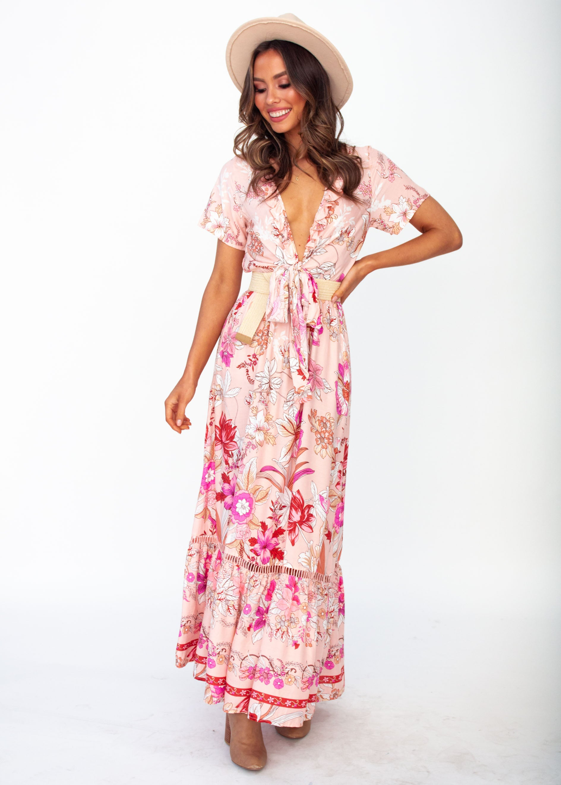f262508e1 Mabel Tie Maxi Dress - Soft Peach Floral – Gingham and Heels