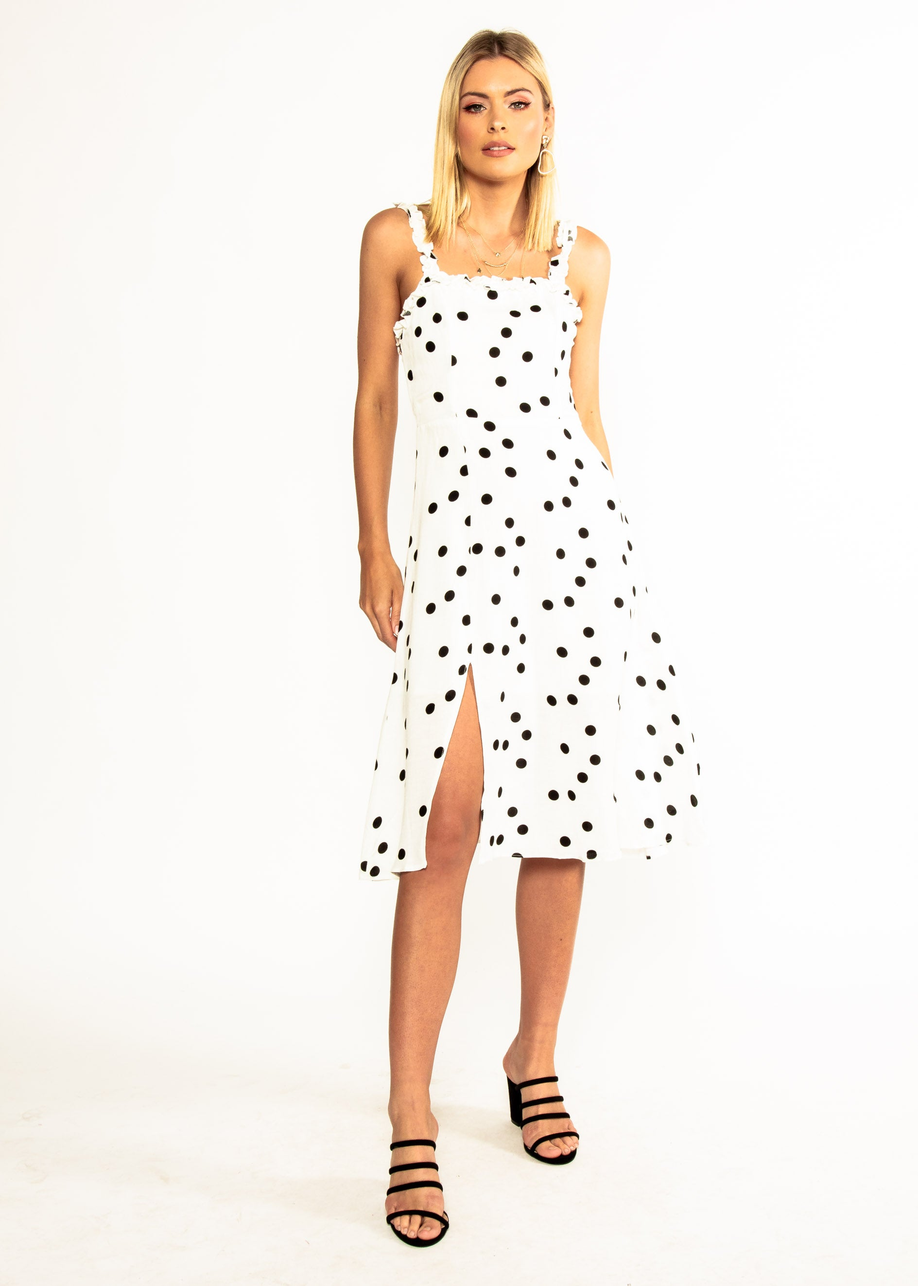 Katia Midi Dress - White Polka