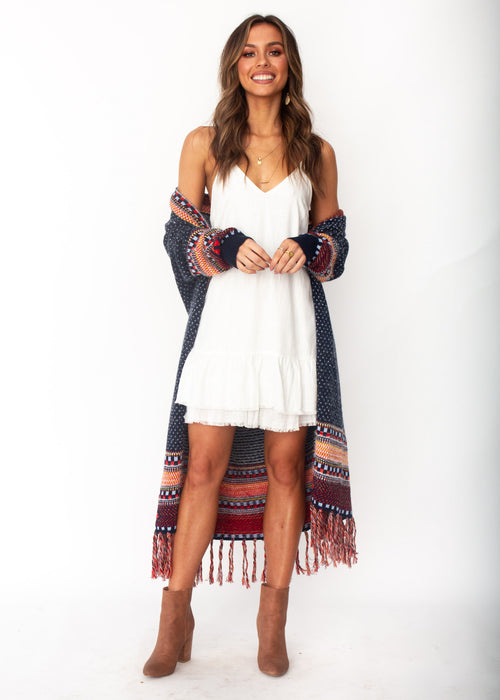 In The Air Aztec Cardigan - Navy