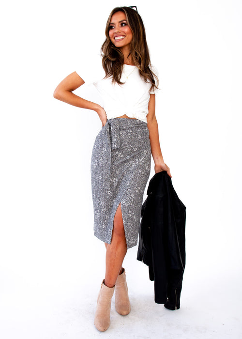 Personal Touch Midi Skirt - Grey Marle