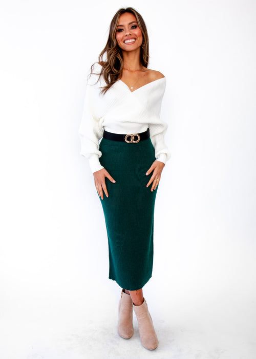 Montana Knit Midi Skirt - Emerald