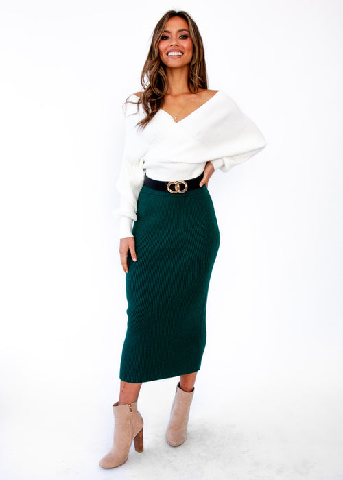 Women's Montana Knit Midi Skirt - Emerald