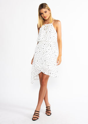 Thalia Dress w/ Tie - White Spot- OLD