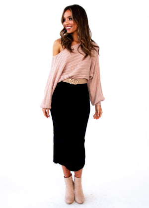 Montana Knit Midi Skirt - Black