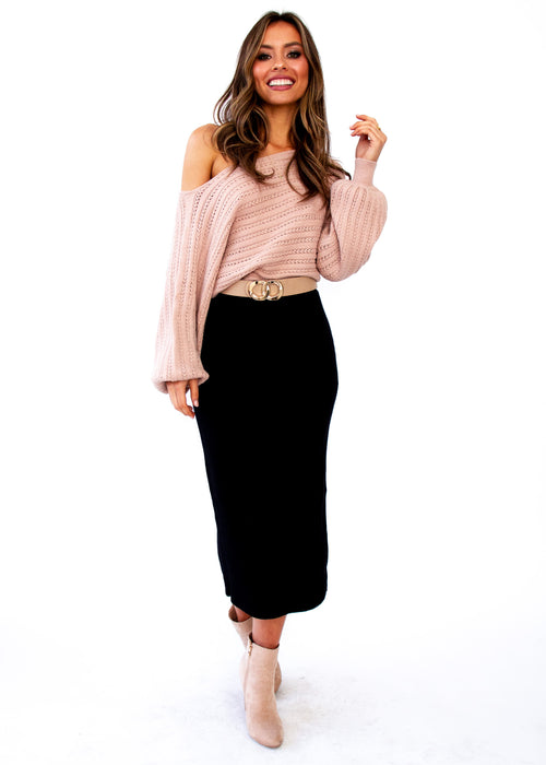 Women's Montana Knit Midi Skirt - Black