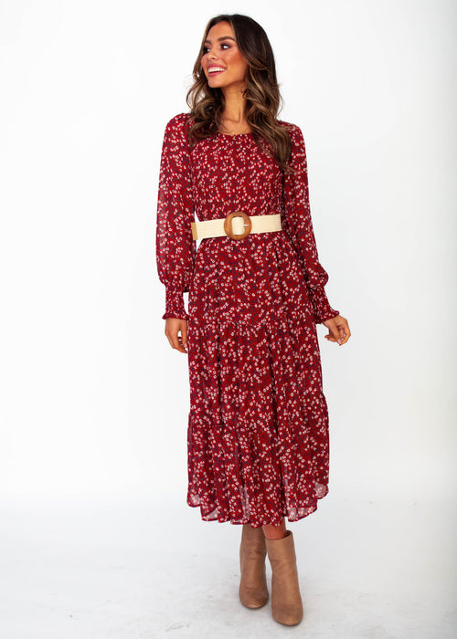 Everlasting Wish Midi Dress - Burgundy Floral Print