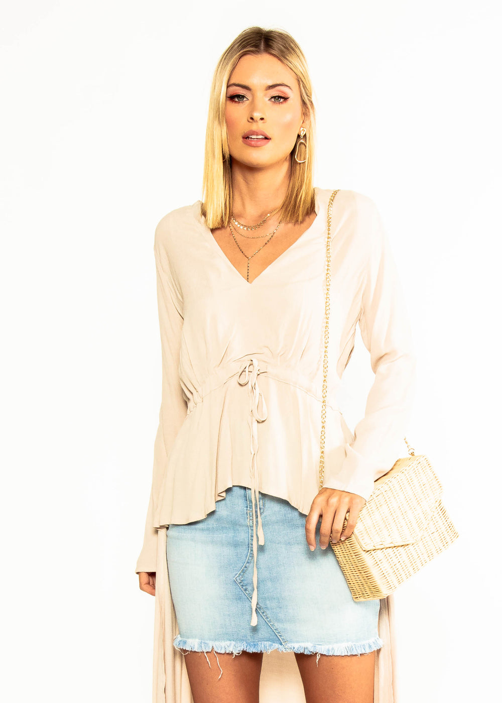 All Hours Hi-Lo Blouse - Stone