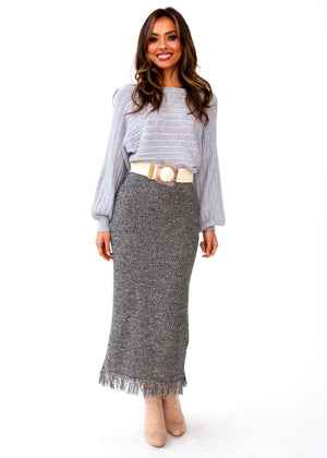Sleep Talking Cropped Sweater - Grey