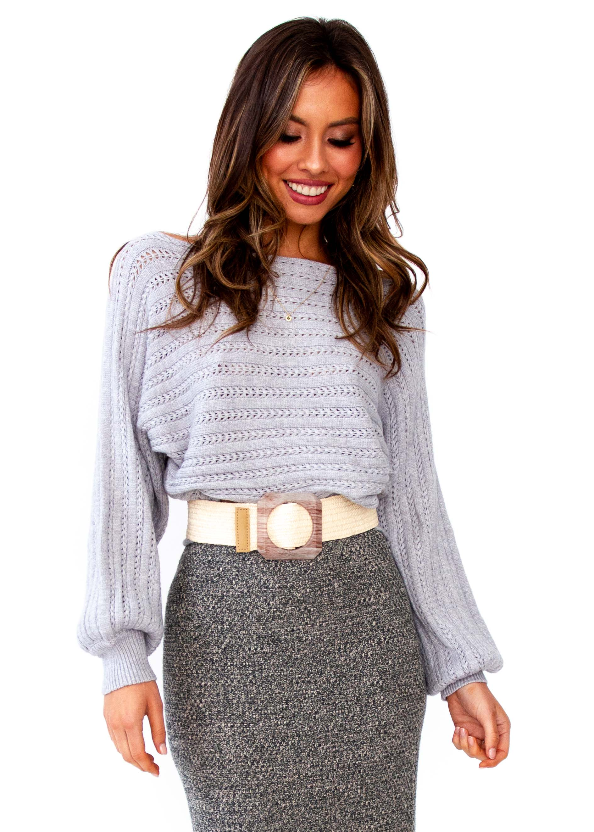 Women's Sleep Talking Cropped Sweater - Grey
