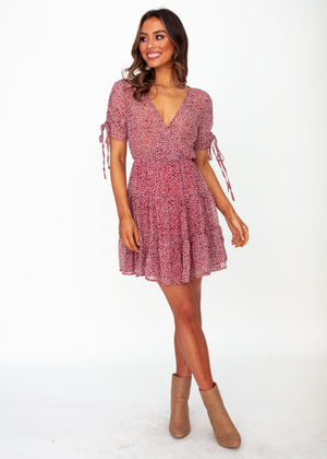 Casablanca Swing Dress - Wine Floral Print