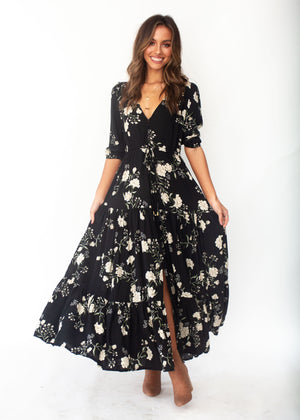 Women's Tessa Maxi Dress - Alliah - Jaase - Black Floral Print