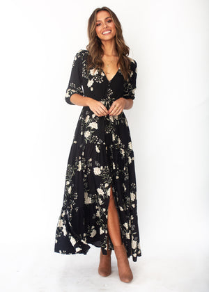 Tessa Maxi Dress - Alliah - Jaase - Black Floral Print