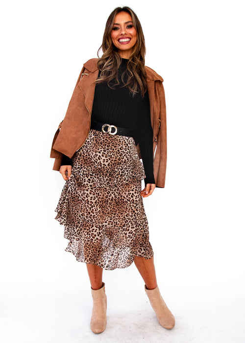 Game on Midi Skirt - Leopard