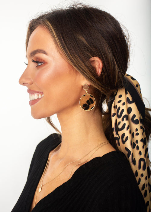 Women's Fall Behind Earrings - Leopard Print