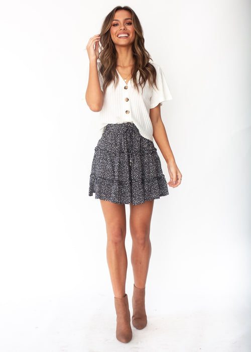 Delicate Matter Skirt - Black Dot Print