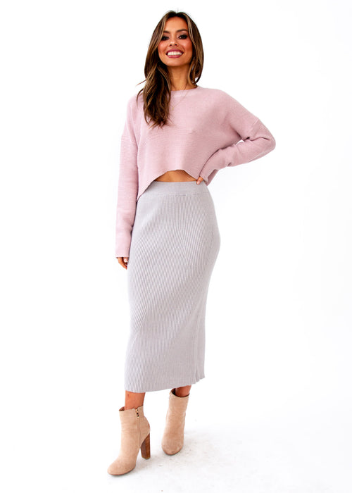 Kimmy Cropped Sweater - Blush