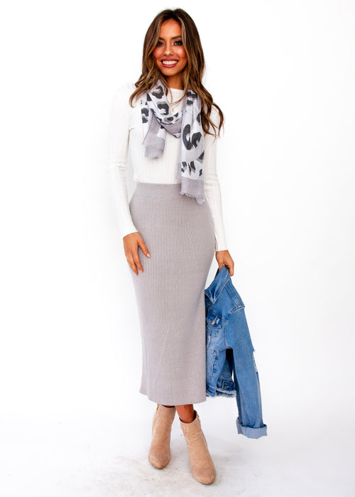 Montana Knit Midi Skirt - Grey