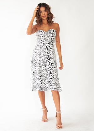 Tucson Strapless Midi Dress - Snow Leopard
