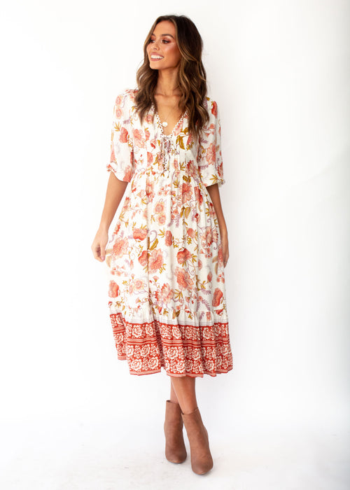 Women's Dream In Colour Boho Midi Dress - Autumn