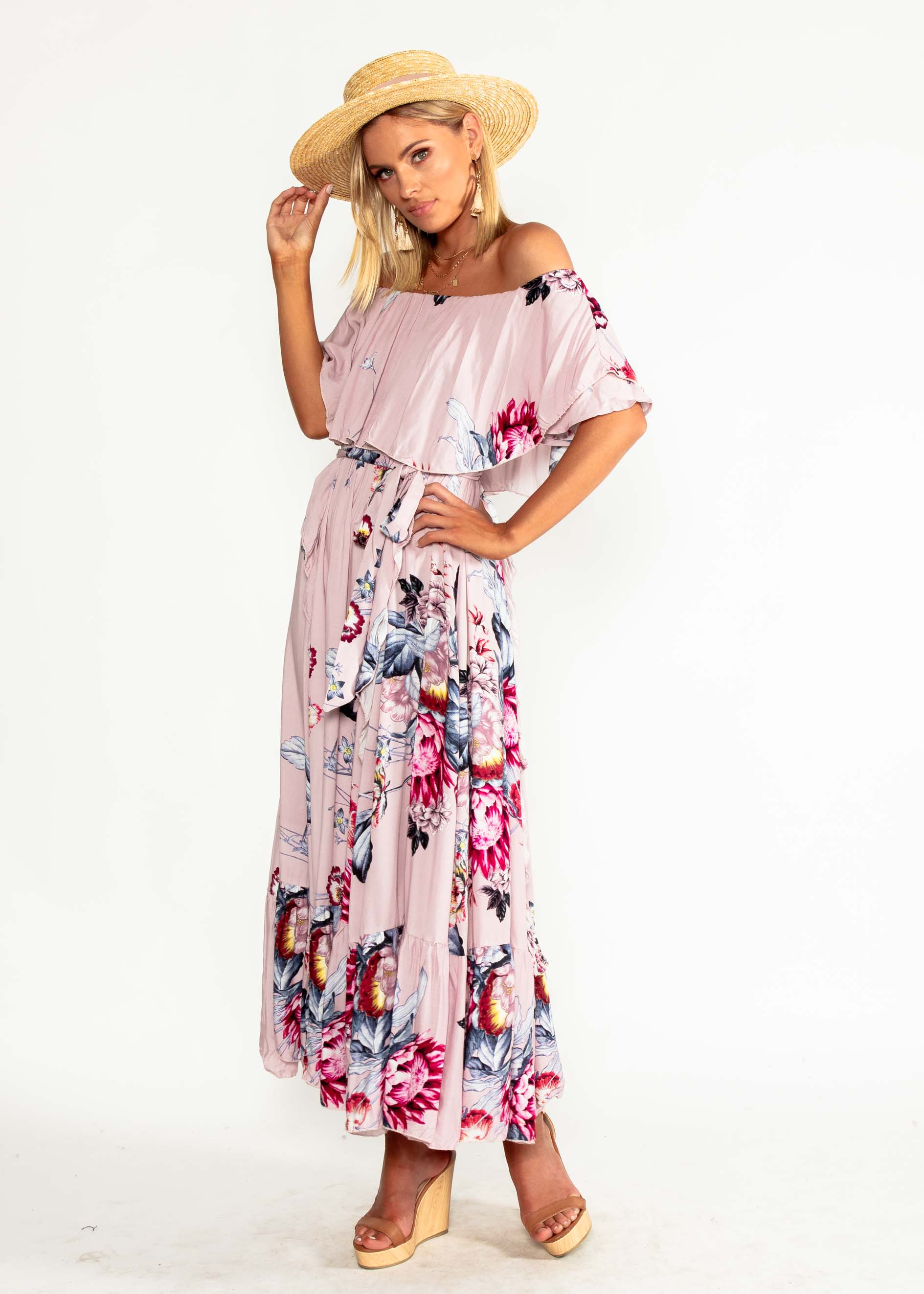 Georgie Off Shoulder Maxi Dress - Dahlia