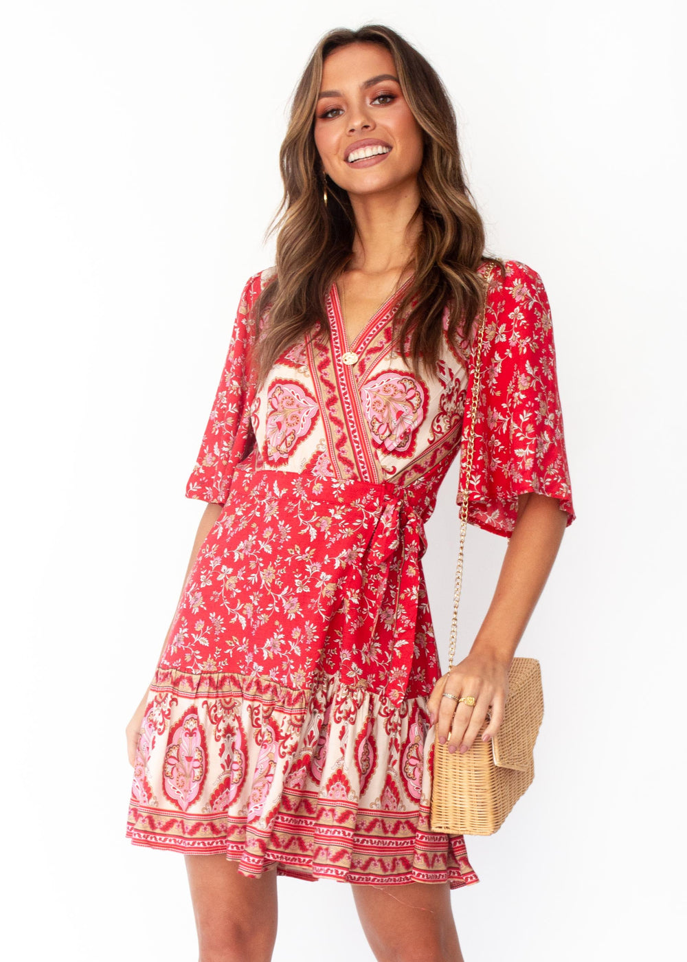 Women's Always The One Wrap Dress - Mumbai - Red Floral