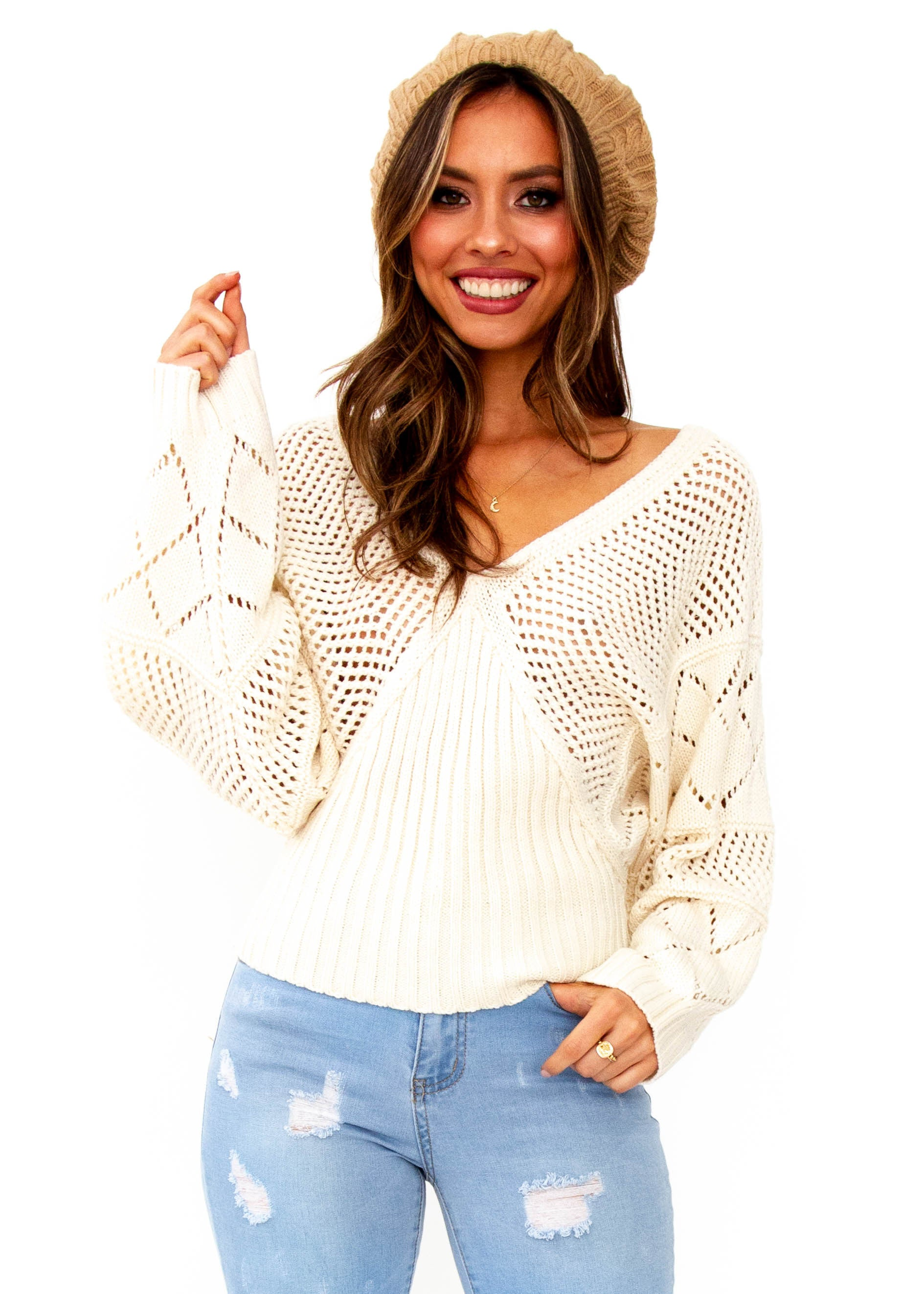 Women's Moroccan Moments Knit Top - Cream
