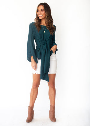 Born To Dare Tie Blouse - Emerald