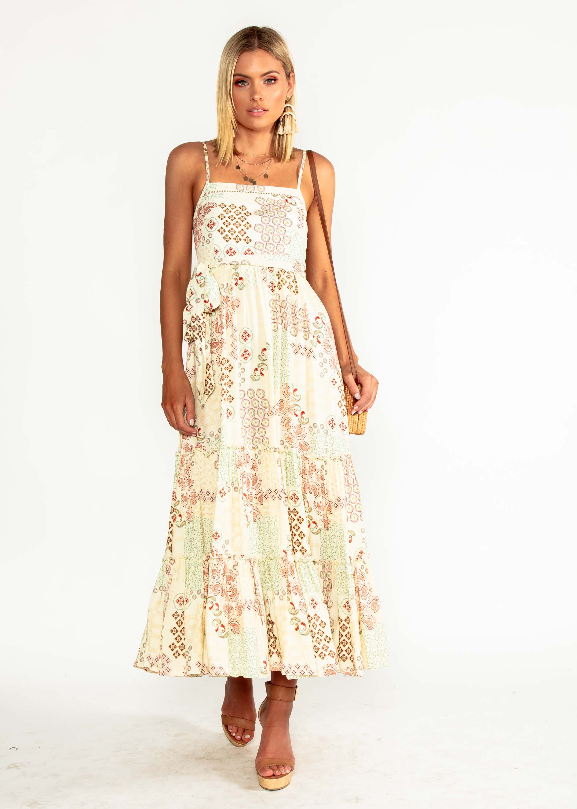 Billie Maxi Dress w/ Tie - Rising Sun