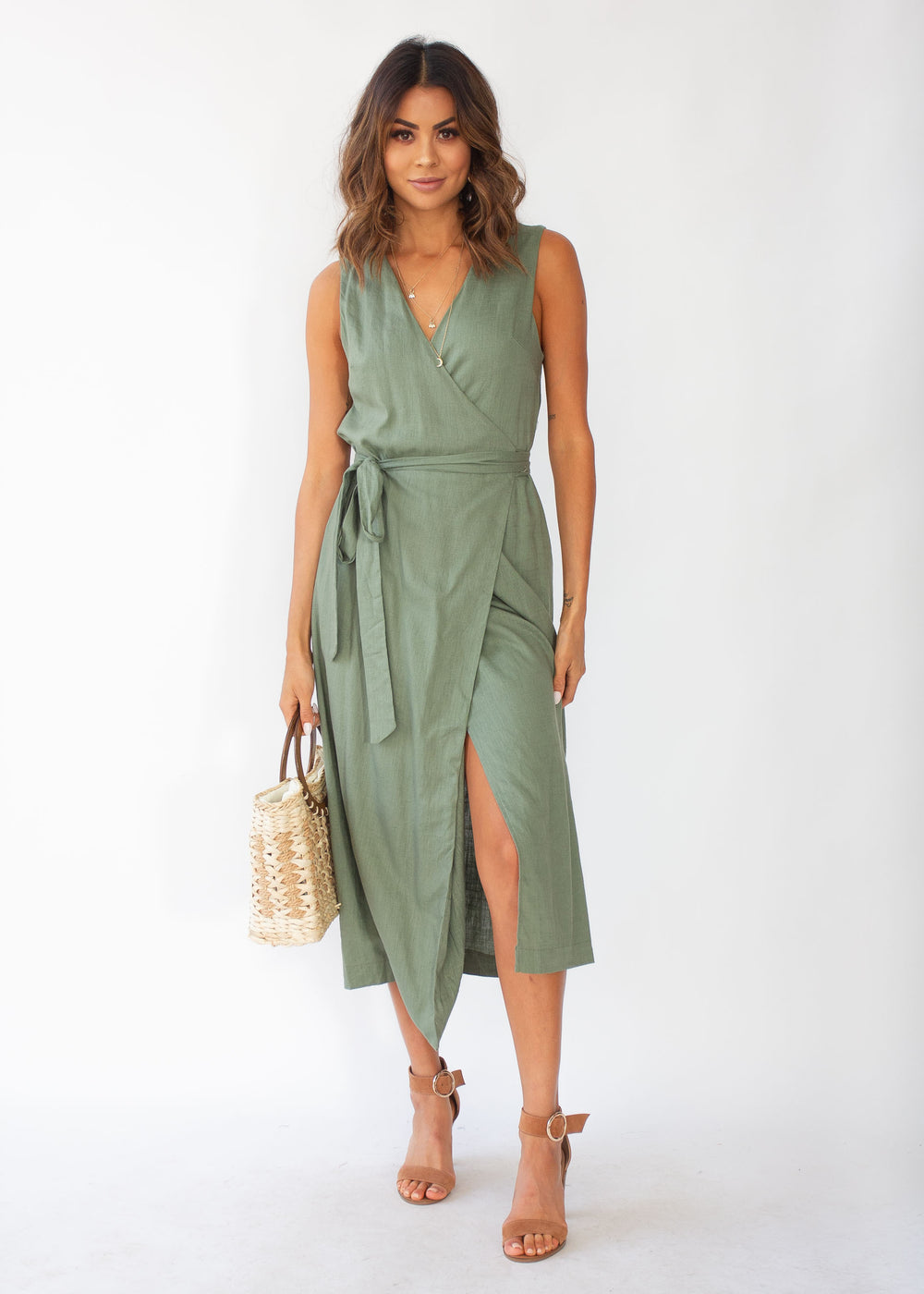 First Priority Wrap Maxi Dress - Khaki