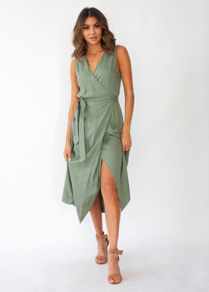 c055b1be2d9d13 First Priority Wrap Maxi Dress - Khaki – Gingham and Heels