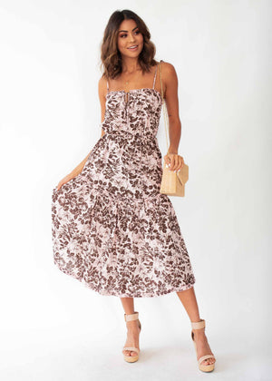 Mayfair Midi Dress - Blush Floral