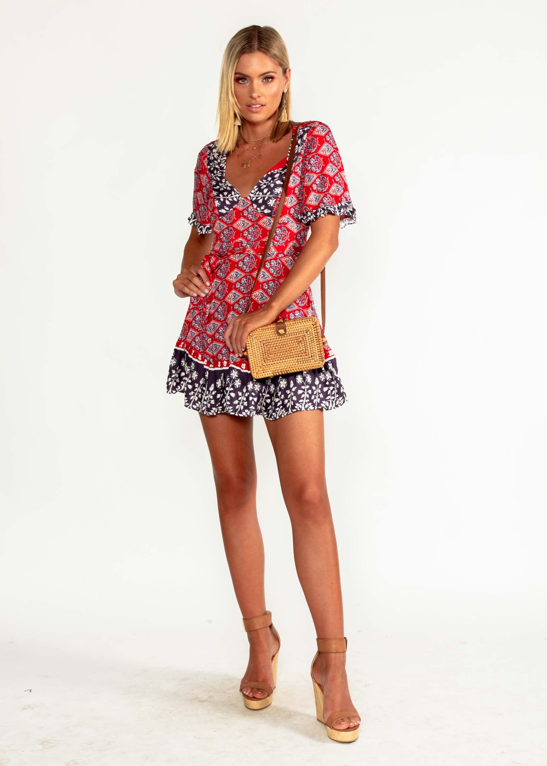 Seraphina Dress w/ Tie - Red Paisley
