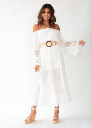 Peasant Fairy Off Shoulder Maxi Dress - White