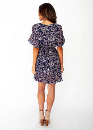 Marilyn Dress - Navy Vine