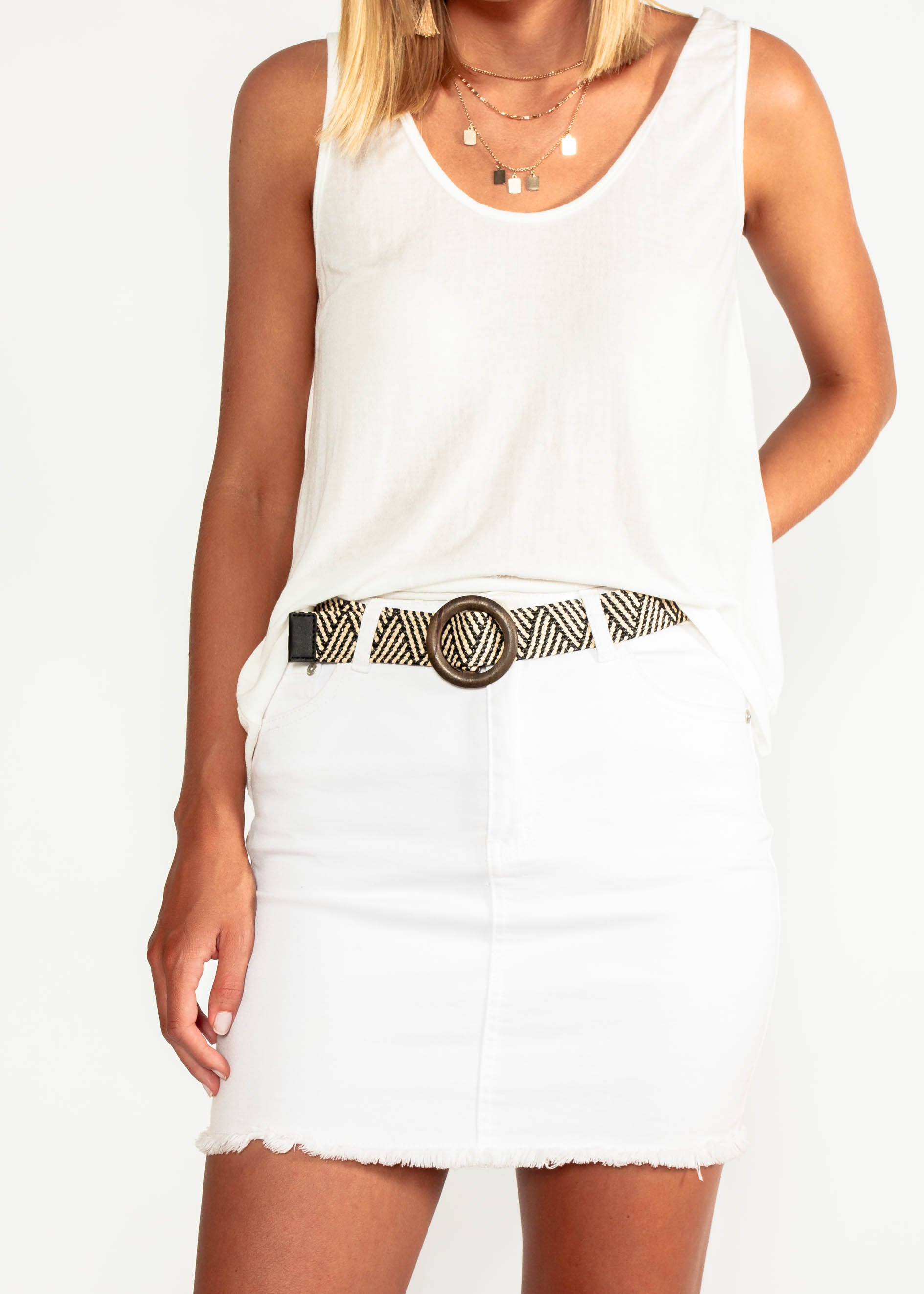 Rhea Belt - Nude/Black