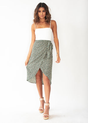 Bold Love Midi Wrap Skirt - Green Floral