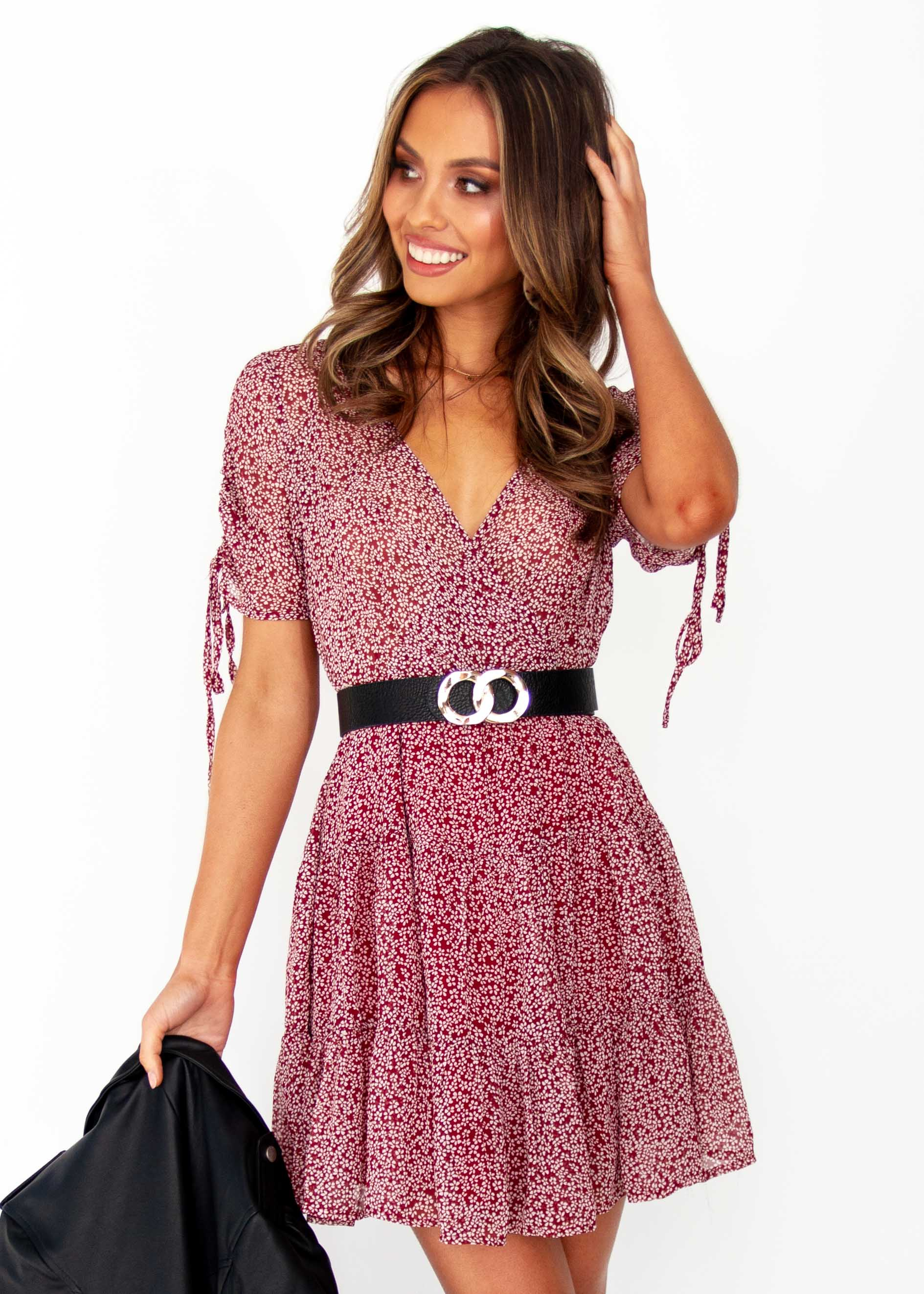 Women's Casablanca Swing Dress - Wine Floral Print