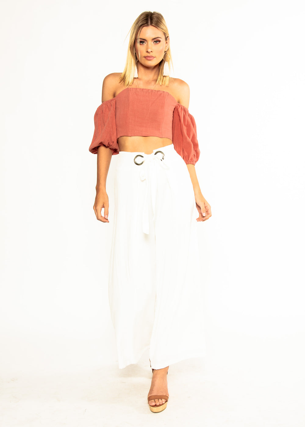 d6462df56b0bb Sweet Nothings Off Shoulder Crop - Rose ...