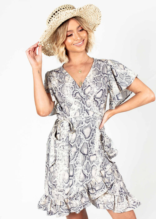 Beyond Belief Wrap Dress - Snake