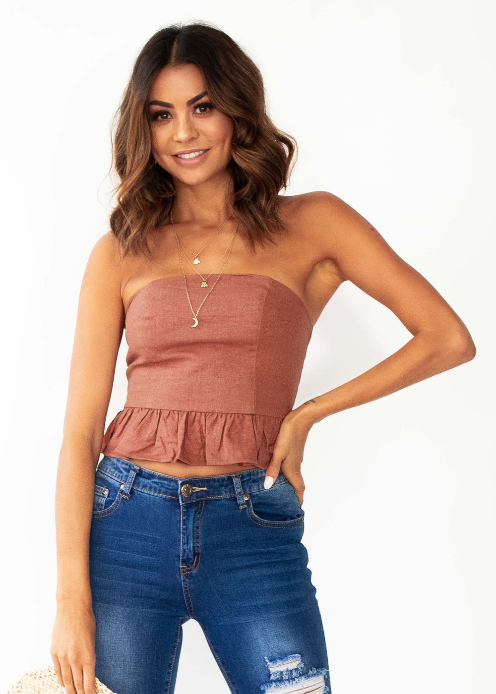 Picture Perfect Strapless Crop - Rust
