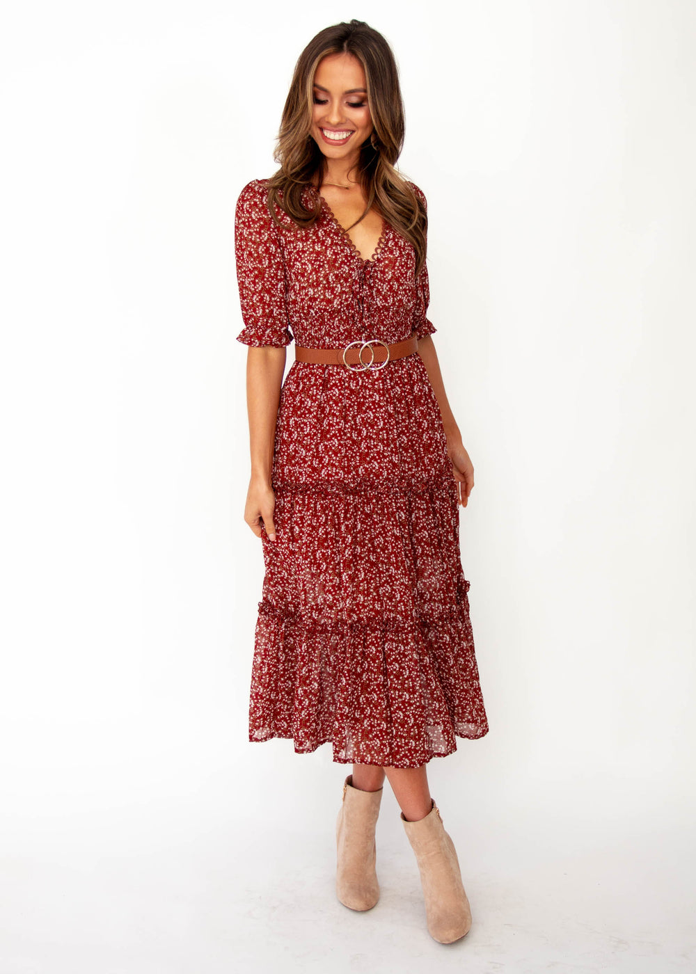 Caught In The Flames Midi Dress - Maroon Floral