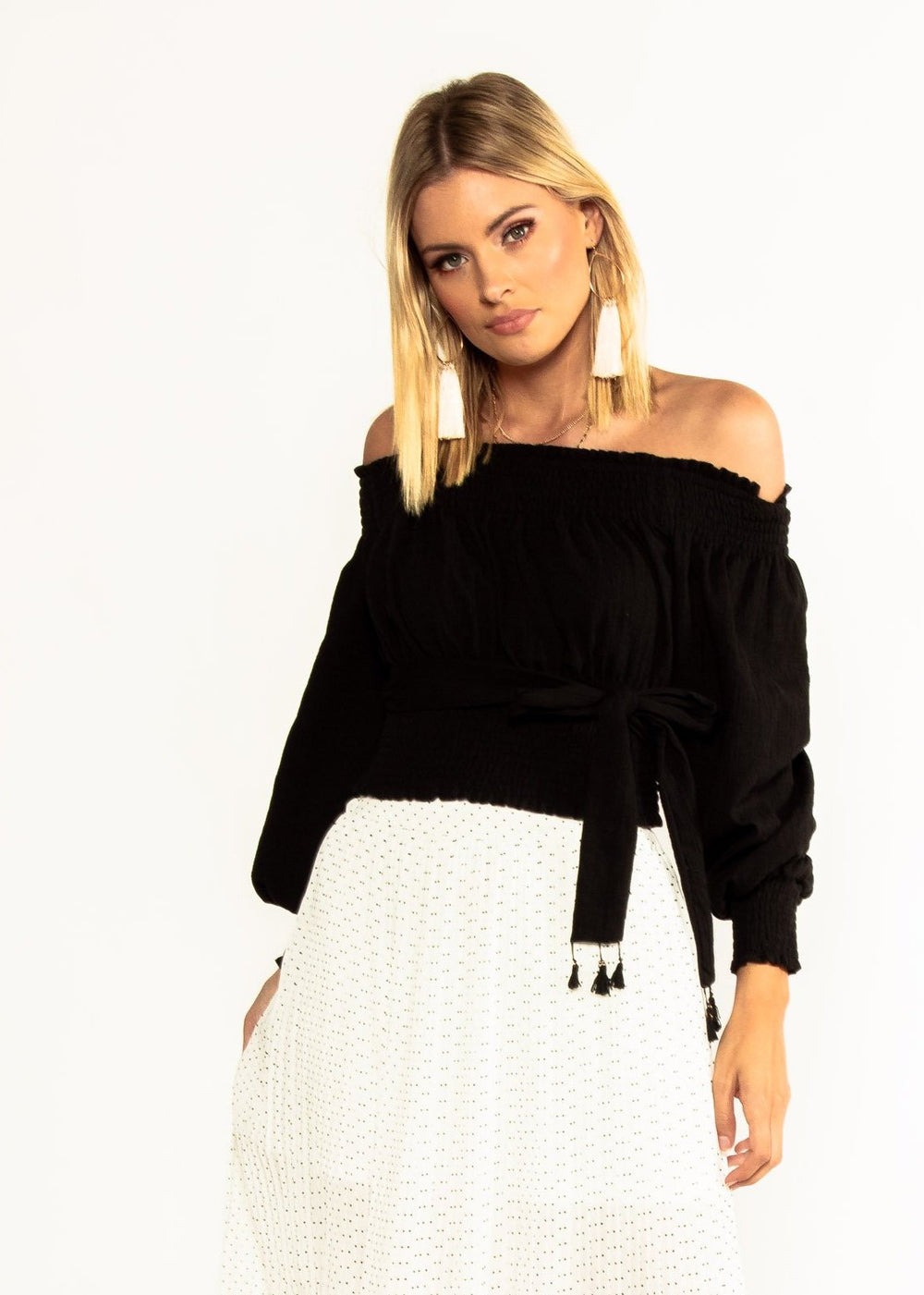 Wildfire Off Shoulder Crop w/ Tie - Black