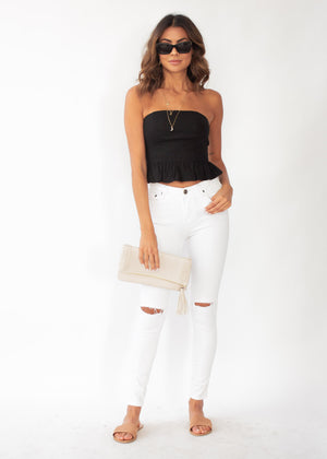 Picture Perfect Strapless Crop - Black